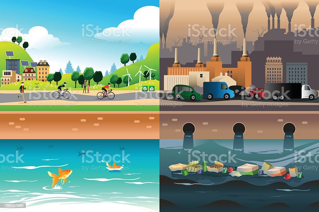 Healthy City Versus Polluted City vector art illustration