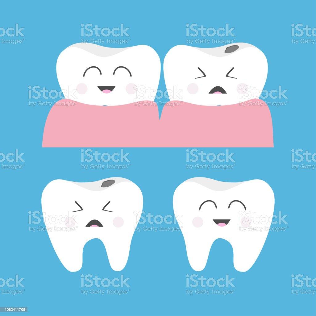 1f9368e26 Saudável Crying mau doente sorridente dente goma ícone. Conjunto de  caracteres bonito. Bucal higiene