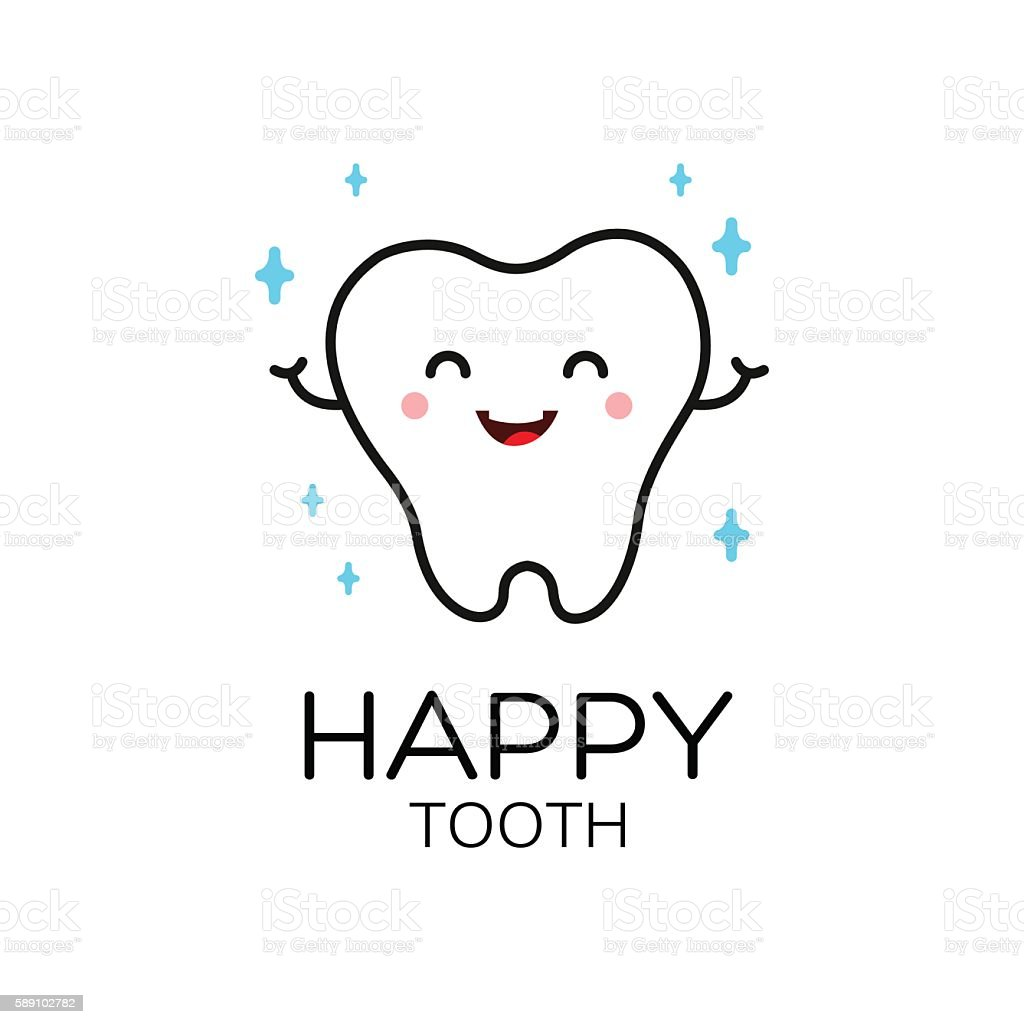 Healthy Cute Cartoon Tooth Character Stock Vector Art ...
