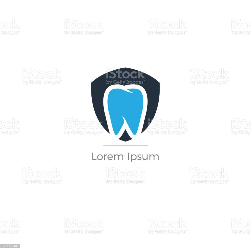 Healthy Dental Icon Design With Shield Cosmetic Dentistry Tooth Care And Protection