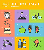 Healthy Diet Infographic Banner Card Include of Yoga, Bed, Alarm Clock, Fresh Fruits, Vegetables and Dumbbell. Vector illustration