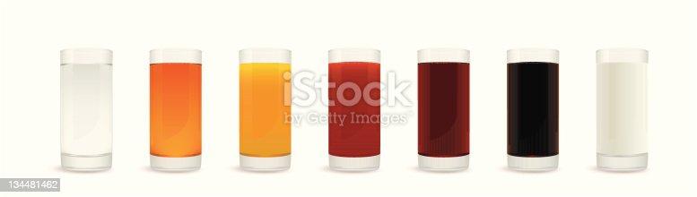 Vector illustration of healthy drinks glasses - water, apple juice, orange juice, tomato juice, pomegranate juice, grape juice and milk.