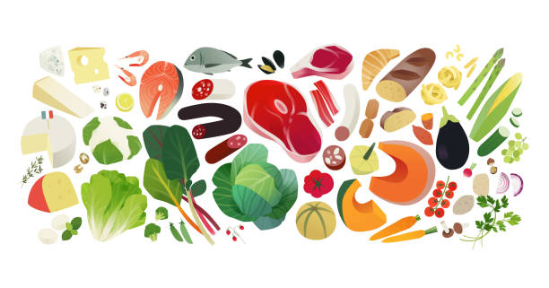 Healthy eating banner Balanced diet, groceries background, healthy eating concept healthy eating stock illustrations