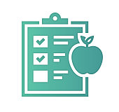 Healthy eating design with gradient painted by path of the icon. Papercut style graphic can also be used as simple vector template for silhouette illustrations.