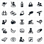 A set of healthy eating icons. The icons include people eating healthy as well as healthy foods including eggs, carrots, apple, asparagus, tomatoes, bananas, lettuce, celery, peas and cucumber to name a few.