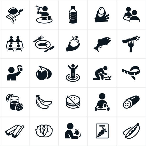 ilustrações de stock, clip art, desenhos animados e ícones de healthy eating icons - eating