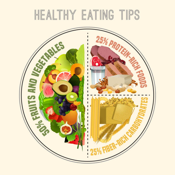 healthy eating plate - healthy eating stock illustrations, clip art, cartoons, & icons