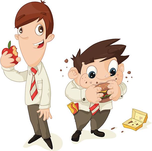 Healthy Eating School Boys vector art illustration