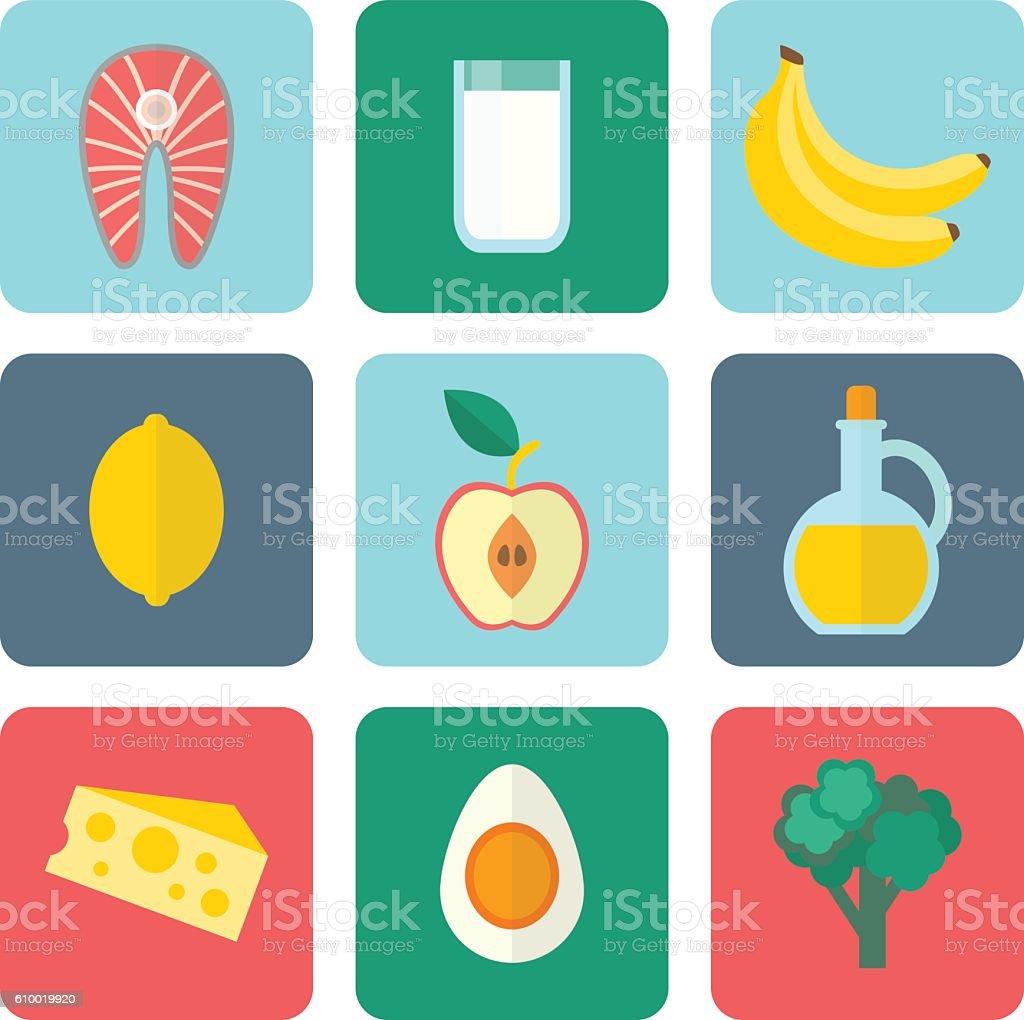 Healthy eating set vector art illustration