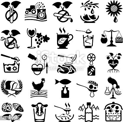 25 health food and healthy eating symbols