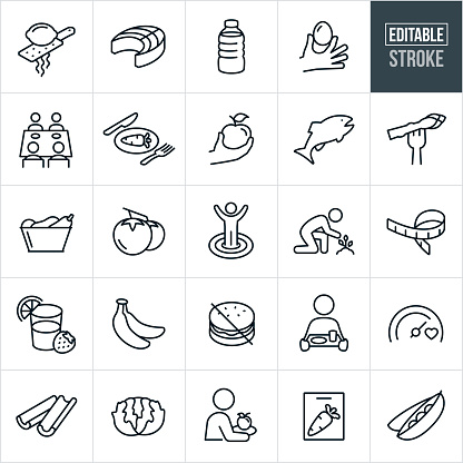 A set of healthy eating icons that include editable strokes or outlines using the EPS vector file. The icons include lemon zest, cooked salmon, water, egg, carrots, apple, fish, asparagus, vegetables, fruits, people eating healthy, people dieting, diet goals, people seated at a dining table, tomatoes, health goals, fresh produce, measuring tape, smoothie, bananas, celery, lettuce and pees to name a few.