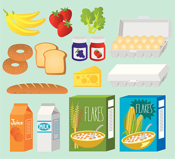 Healthy Eating A set of breakfask collection with fresh food. Zip also includes AI CS2 and PDF. cereal stock illustrations