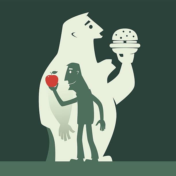 illustrazioni stock, clip art, cartoni animati e icone di tendenza di sano alimentazione - obesity