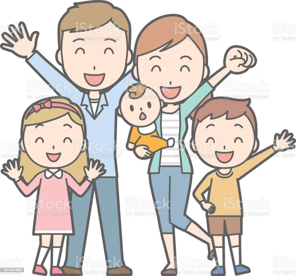 Healthy family No.03 (family of 5)(2 generations) vector art illustration