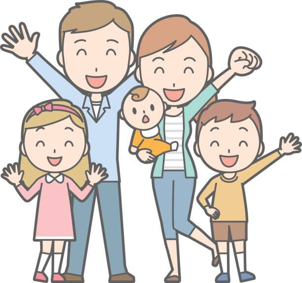 healthy family no.03 (family of 5)(2 generations) - brother stock illustrations, clip art, cartoons, & icons