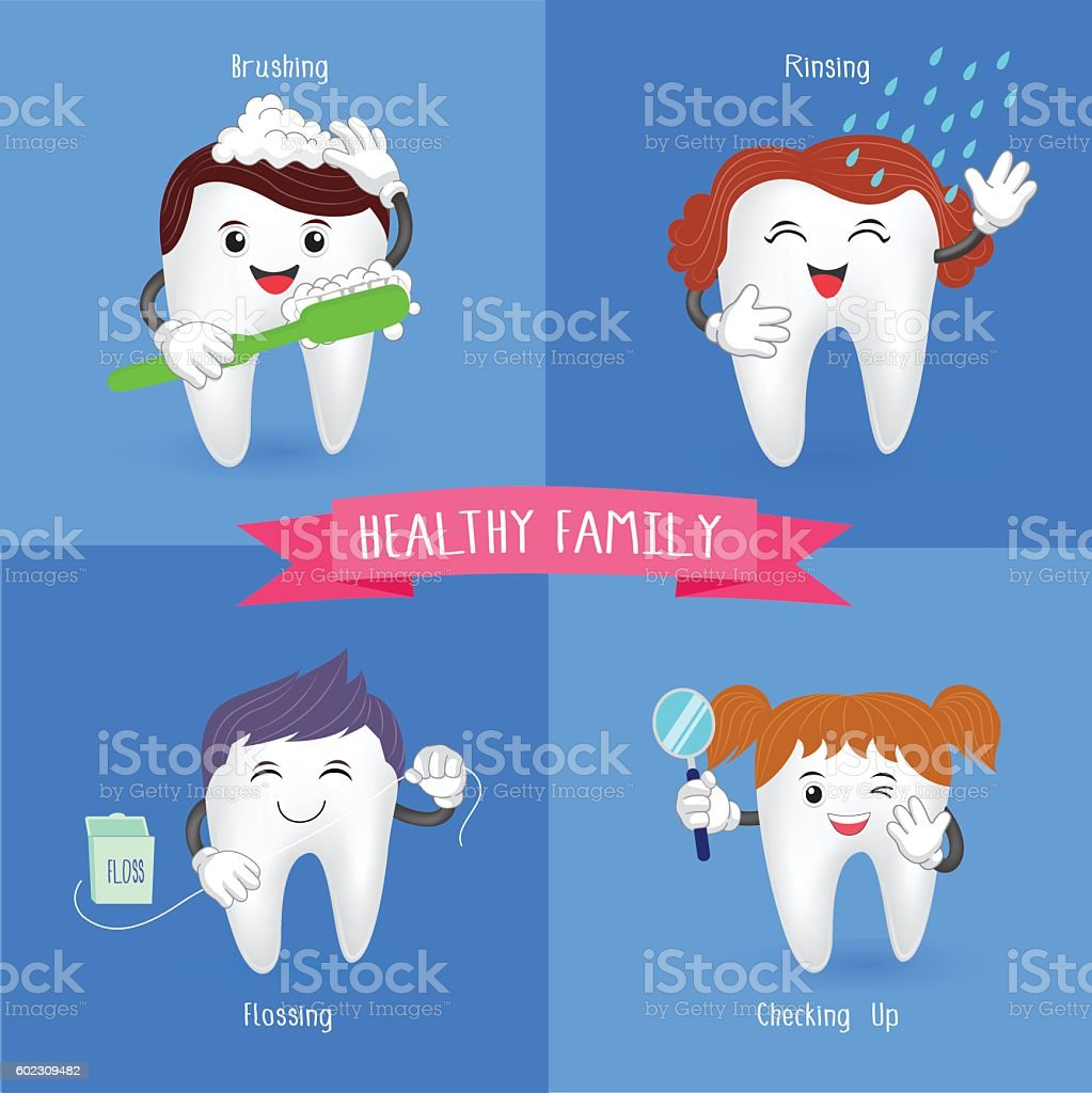 Healthy family tooth. vector art illustration