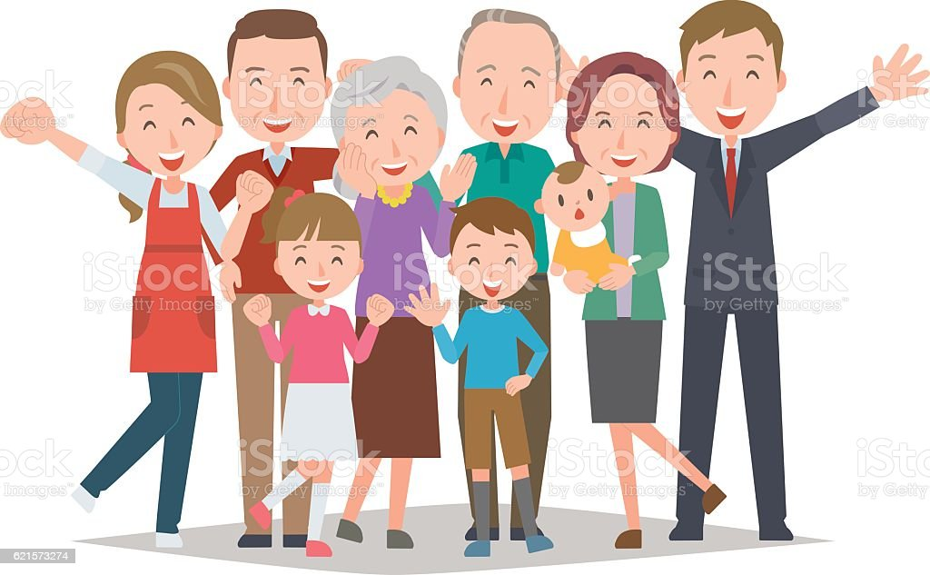 Healthy family(Four generations) healthy family – cliparts vectoriels et plus d'images de adulte libre de droits