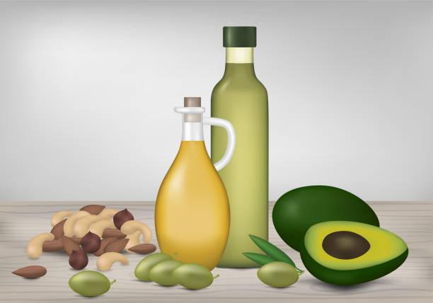stockillustraties, clipart, cartoons en iconen met gezonde vet producten. flessen van olie, avocado, olijven en noten op houten tafel. vectorillustratie. - fresh start yellow