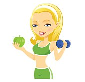 Vector illustration of Healthy Fitness Girl exercising while holding an apple.
