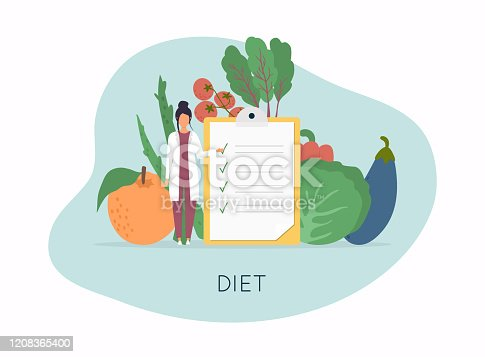 istock Healthy food and Diet planning, diet, food.  Healthy food and dieting concept. Plan your meal infographic with dish and cutlery. Flat design style modern vector illustration concept. 1208365400