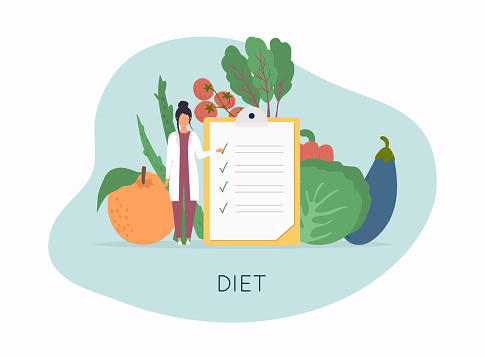 Healthy food and Diet planning, diet, food.  Healthy food and dieting concept. Plan your meal infographic with dish and cutlery. Flat design style modern vector illustration concept.