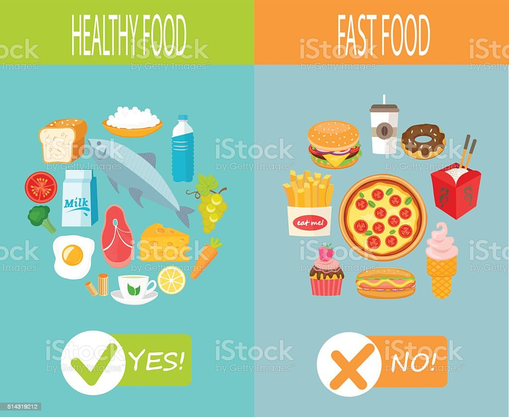 Healthy food and fast food. vector art illustration