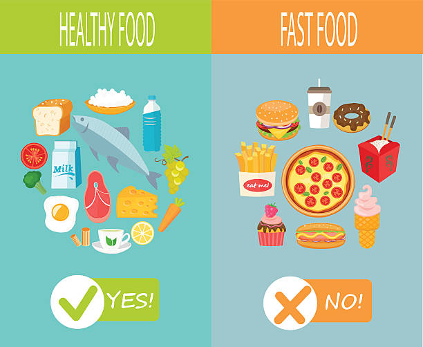 healthy food and fast food. - junk food stock illustrations, clip art, cartoons, & icons