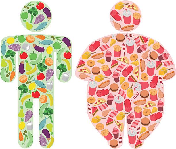 ilustraciones, imágenes clip art, dibujos animados e iconos de stock de comida saludable y graso de la comida y las cifras humanos - comida chatarra