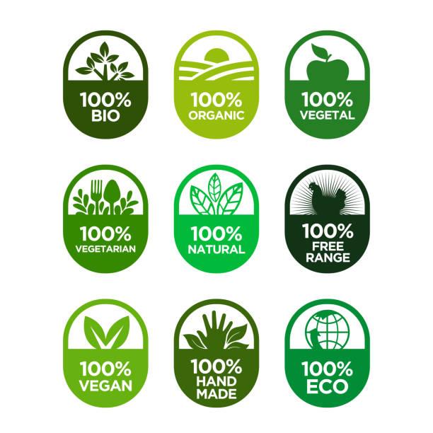 Healthy food and healthy life icons set. 100% Bio, Organic, Vegetal, Vegetarian, Natural, Free Range, Vegan, Hand Made, Eco organic stock illustrations