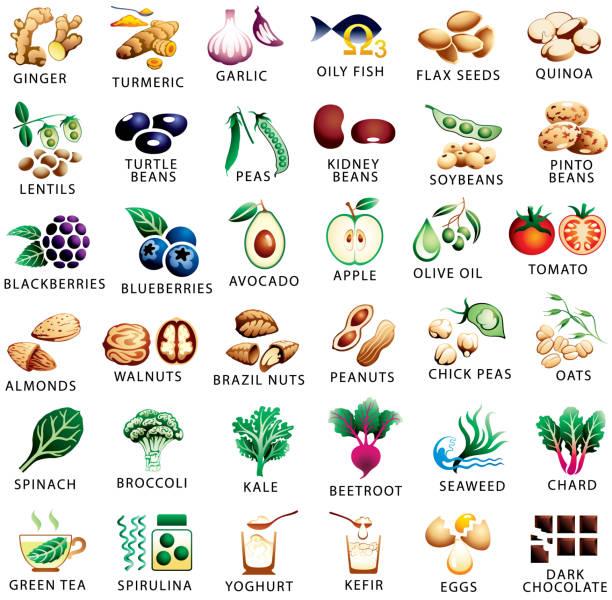 ilustrações de stock, clip art, desenhos animados e ícones de healthy food and superfoods color icons set - quinoa