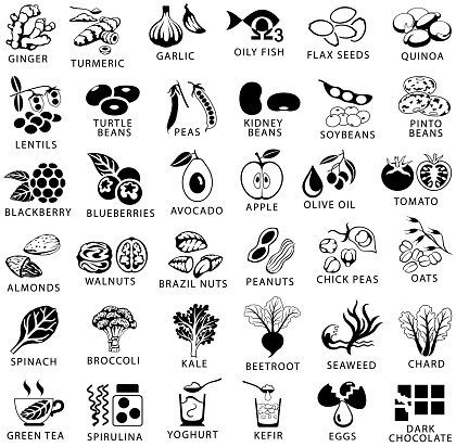Healthy food and superfoods single color black icons set