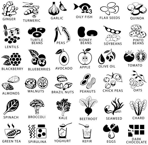 ilustrações de stock, clip art, desenhos animados e ícones de healthy food and superfoods single color black icons set - quinoa