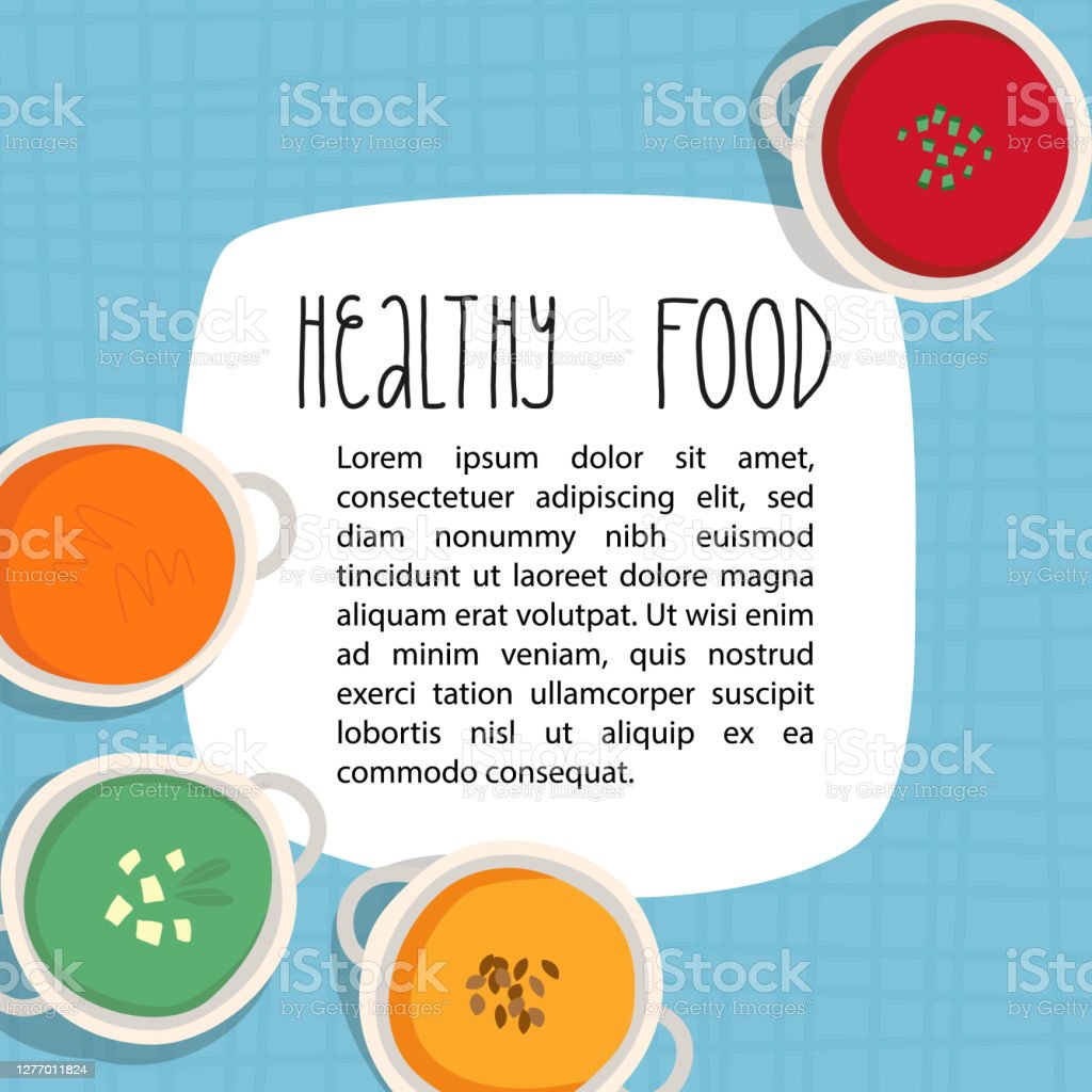 Healthy Food Banner Recipe Template Restaurant Menu Design Various Cream Soups In Ceramic Bowls On Tartan Blue Tablecloth Such As Carrot Pumpkin Broccoli Or Spinach With Tofu Gazpacho Stock Illustration Download