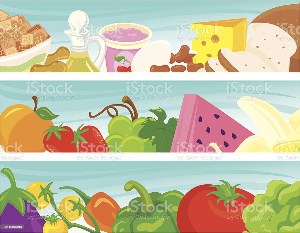 Healthy Food Banners vector art illustration