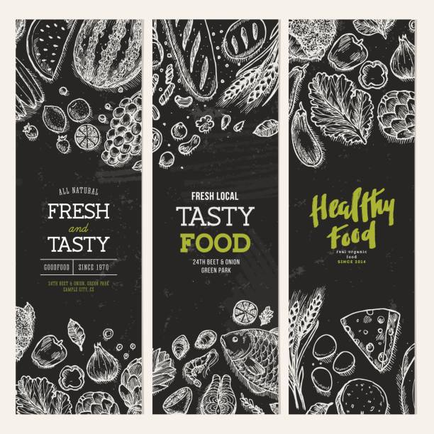 Healthy food blackboard banner collection. Good nutrition backgrounds. Linear graphic. Hero image. Vector illustration Vector illustration bread backgrounds stock illustrations