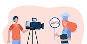 Healthy food blogger taking video workshop. Camera man making reportage, chef choosing GMO free meal. Flat vector illustration. Cooking blog concept for banner, website design or landing web page
