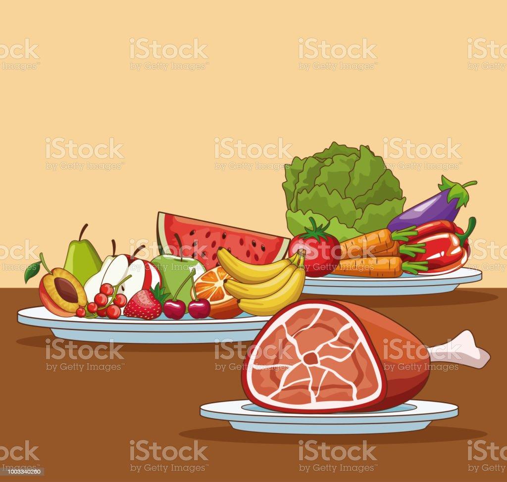 Ilustración De Dibujos Animados De Alimentos Saludables Y Más