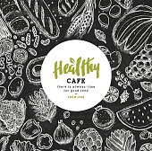 Healthy food collection. Good nutrition table background. Linear graphic. Hero image. Vector illustration