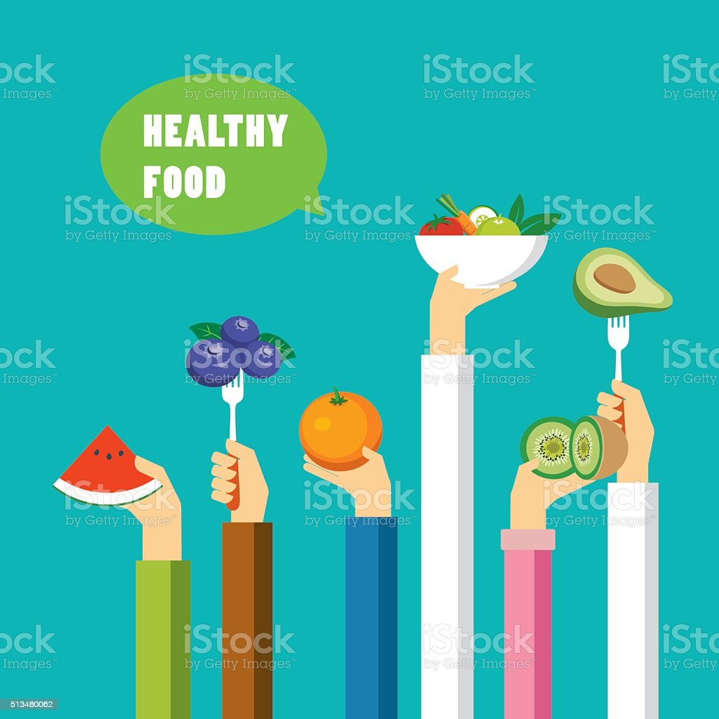 healthy food concept flat design vector art illustration
