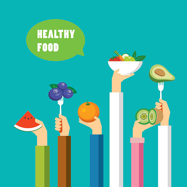 healthy food concept flat design - healthy eating stock illustrations, clip art, cartoons, & icons