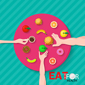 Healthy food concept. Glass of coffee in hand  a apple in hand and hamburger in hand, as a symbol of a healthy diet. Veggie food, eat vitamins. Vector illustration flat design on table blue background.Eat for health.