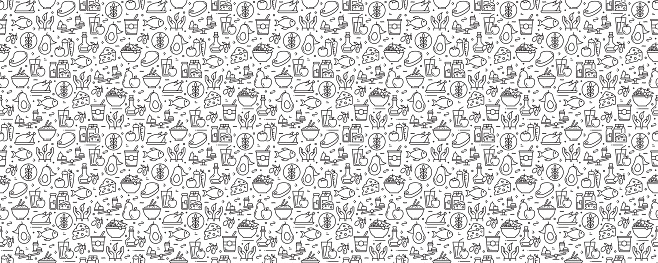 Healthy Food Concept Seamless Pattern and Background with Line Icons