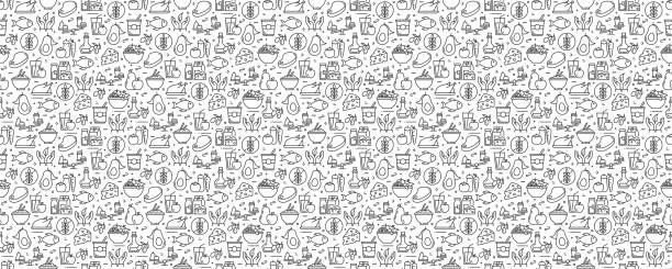 ilustrações de stock, clip art, desenhos animados e ícones de healthy food concept seamless pattern and background with line icons - food