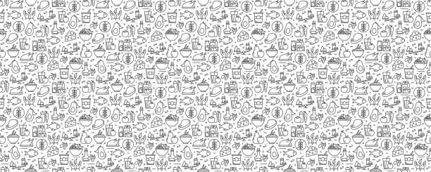 Healthy Food Concept Seamless Pattern and Background with Line Icons Healthy Food Concept Seamless Pattern and Background with Line Icons food stock illustrations