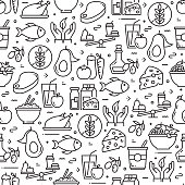 istock Healthy Food Concept Seamless Pattern and Background with Line Icons 1206225568