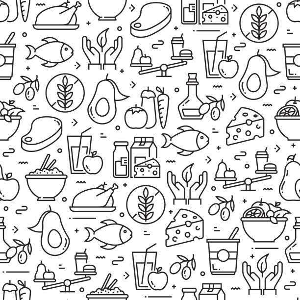 Healthy Food Concept Seamless Pattern and Background with Line Icons Healthy Food Concept Seamless Pattern and Background with Line Icons avocado patterns stock illustrations