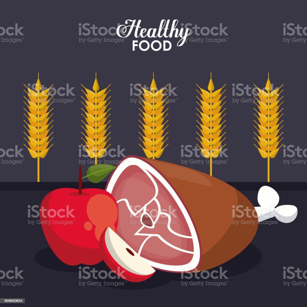 Comida saludable concepto - arte vectorial de Alimento libre de derechos