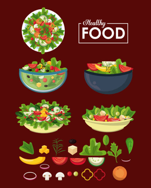 Healthy food concept Healthy and fresh food to eat vector illustration graphic design salad bowl stock illustrations