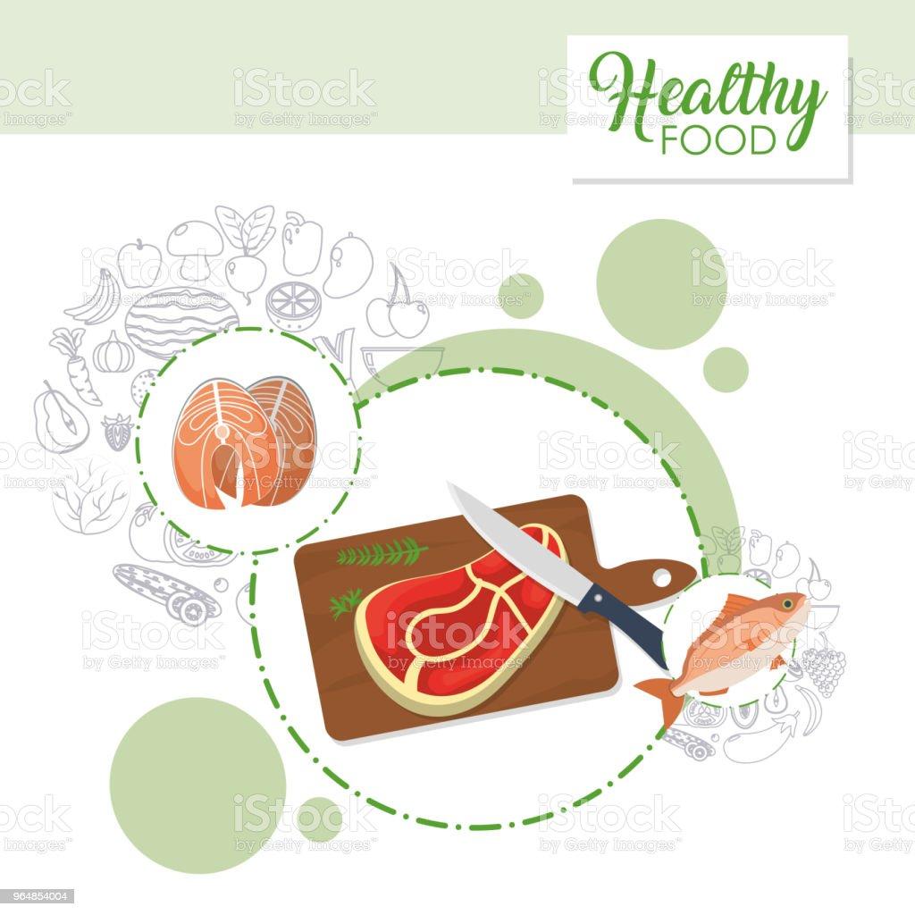 Conceito de alimentação saudável - Vetor de Alimentação Saudável royalty-free