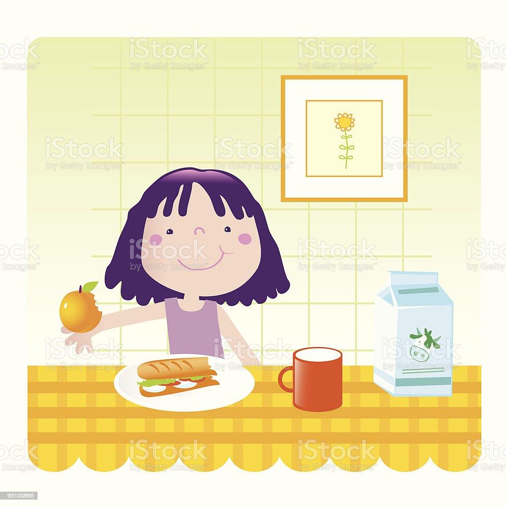 healthy  food- cute girl royalty-free healthy food cute girl stock vector art & more images of beautiful people